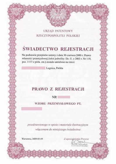 Świadectwo rejestracji wzoru przemysłowego