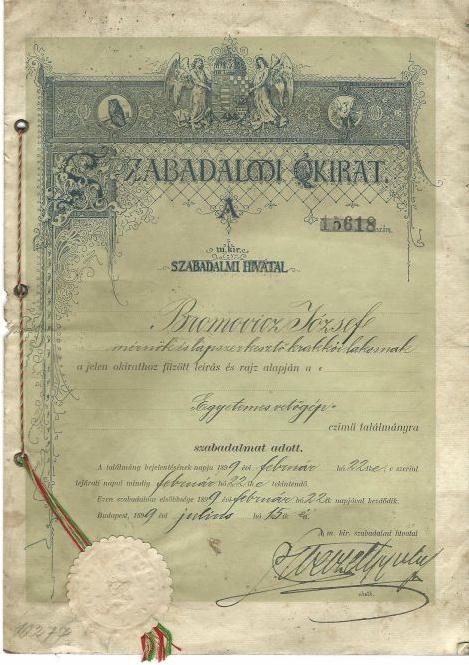 Patent nasiewnik uniwersalny - Węgry 1899r.